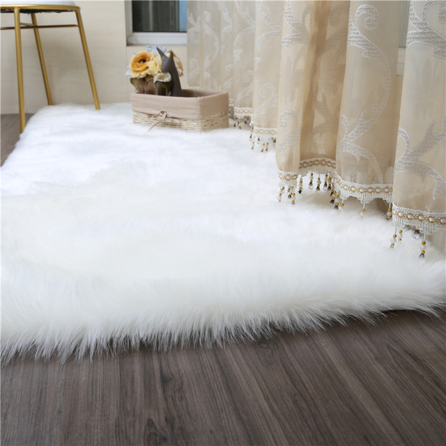 Living Room Bedroom Carpet Sofa Antiskid Soft Pure White Silk Wool Faux Luxury Tapis Modern Decorative Rug