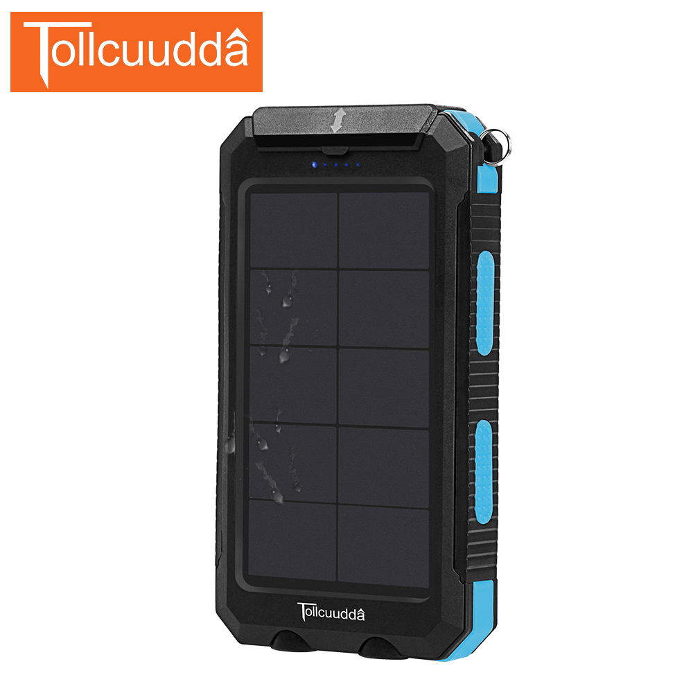 TOLLCUUDDA 10000mAh Waterproof Solar Powerbank Universal Dual USB Portable Charger Mobile External Battery For All Smartphone