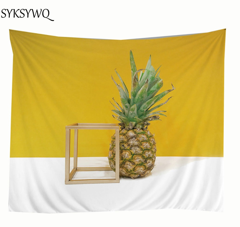 Yellow pineapple tapestry wall hanging decoration blanket cheap ...