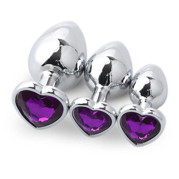 Purple metal anal plug 3 sizes in a box