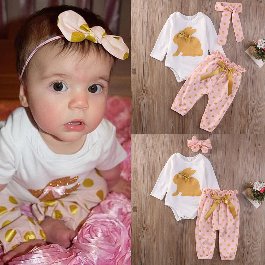 3Pcs Newborn Infant Baby Girls Clothes Set LOVELY Clothing Romper Tops Playsuit Pants Baby Girl Outfit Set 2017 summer newborn infant baby girls clothing set crown pattern romper bodysuit printed pants outfit 2pcs