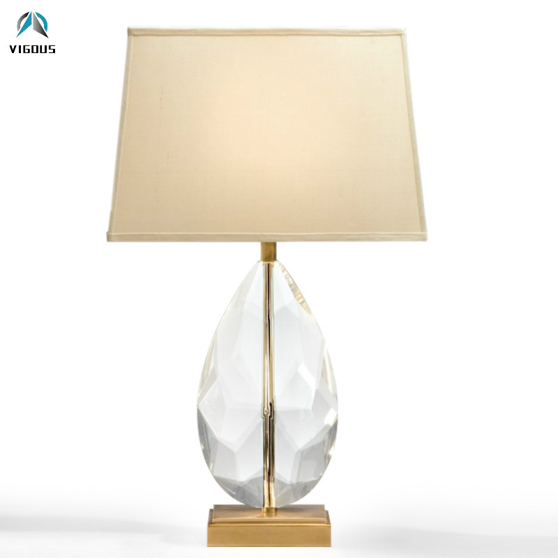 Modern Lustre K9 Big Crystal Table Lamp Square Fabric Lampshades Led Desk Lamp for Study Room Bedroom Plate Gold Metal Lamparas