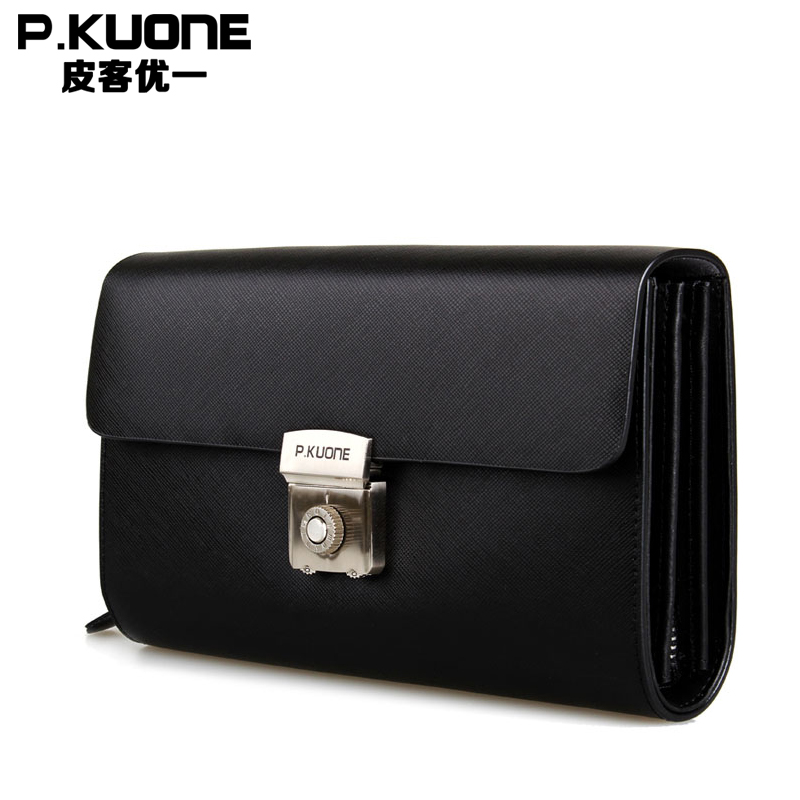 P KUONE Genuine Leather Clutch Bag 2017 New Design Male Wallet Luxury Brand Messenger Bag Business