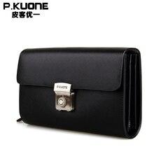 P. KUONE Echtem Leder Handtasche 2017 Neue Design Männlichen Brieftasche Luxusmarke Umhängetasche Business Männer Geldbörse telefon Handtasche