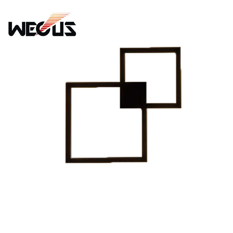 Wecus creative black aluminum frame wall light hotel aisle sconce foyer study background and Living Sitting Room