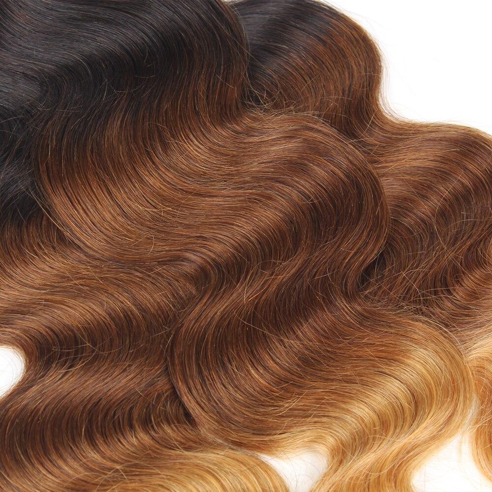 Волосы remy волос для наращивания 3 Связки объемные локоны переливчатого цвета T1B/33/27 три тона пряди человеческих волос для Инструменты для завивки волос двойное машинное переплетение