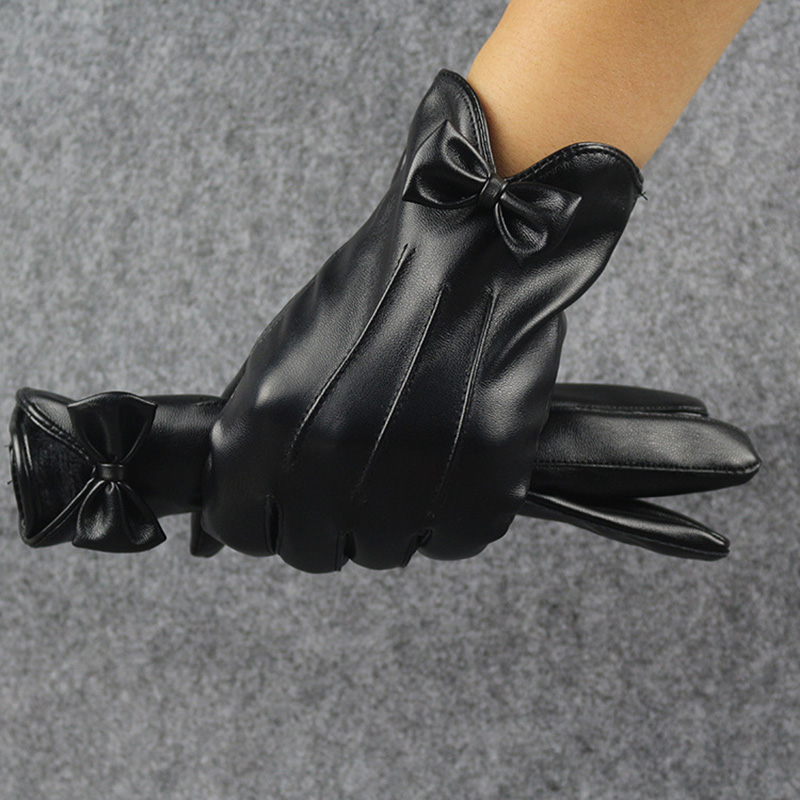 High Quality Leather Female Fashion Winter Warm Black Bow Cycling Gloves Women Driving Touch Phone Screen Glove Mittens B7