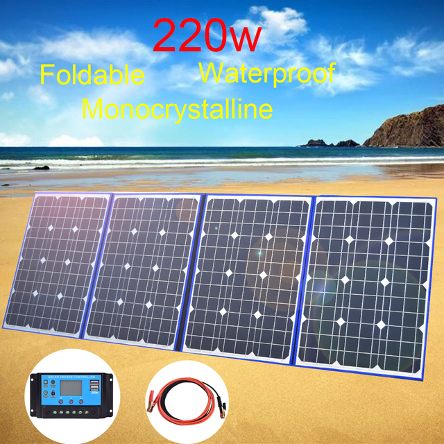 Foldable Solar Panel 220w 18v Flexible Solar 200w USB Charger Portable Power Bank for Car Boat Phone Camping Travel Hiking Home