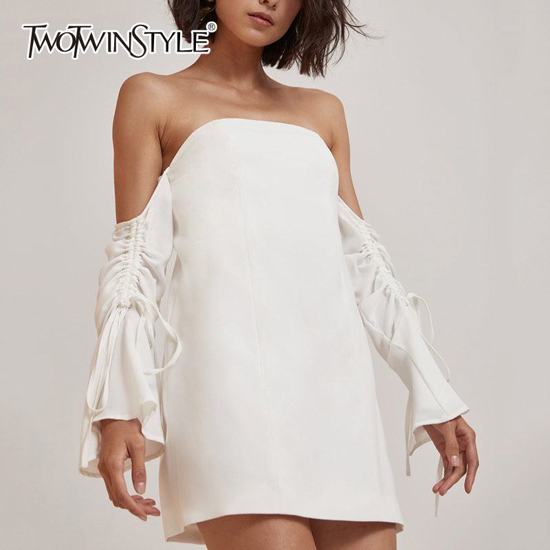 TWOTWINSTYLE Off Shoulder Sexy Mini Shirts Dress Women Summer Slash Neck Lace Up Split Dresses Female White Casual Clothing Tide missord 2018 summer sexy off shoulder slash neck ruffles backless dresses female split elegant solid color dress ft9076 1