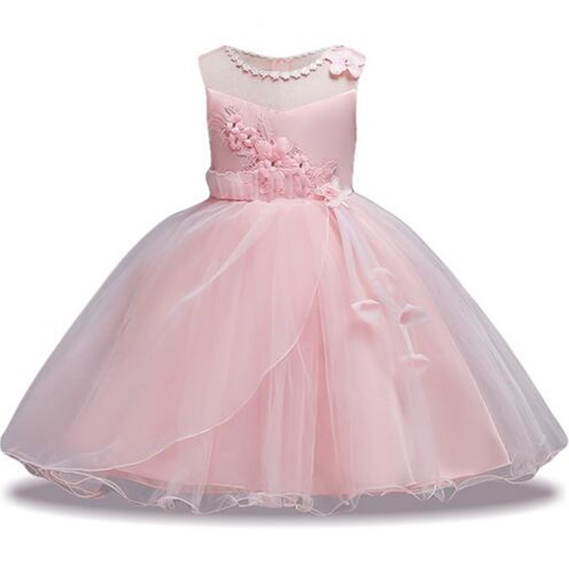 Girl Summer pearl Floral Gown Dress Girls Dress For Girls Princess Birthday Party Dresses Kids Wedding Dress Children Clothes