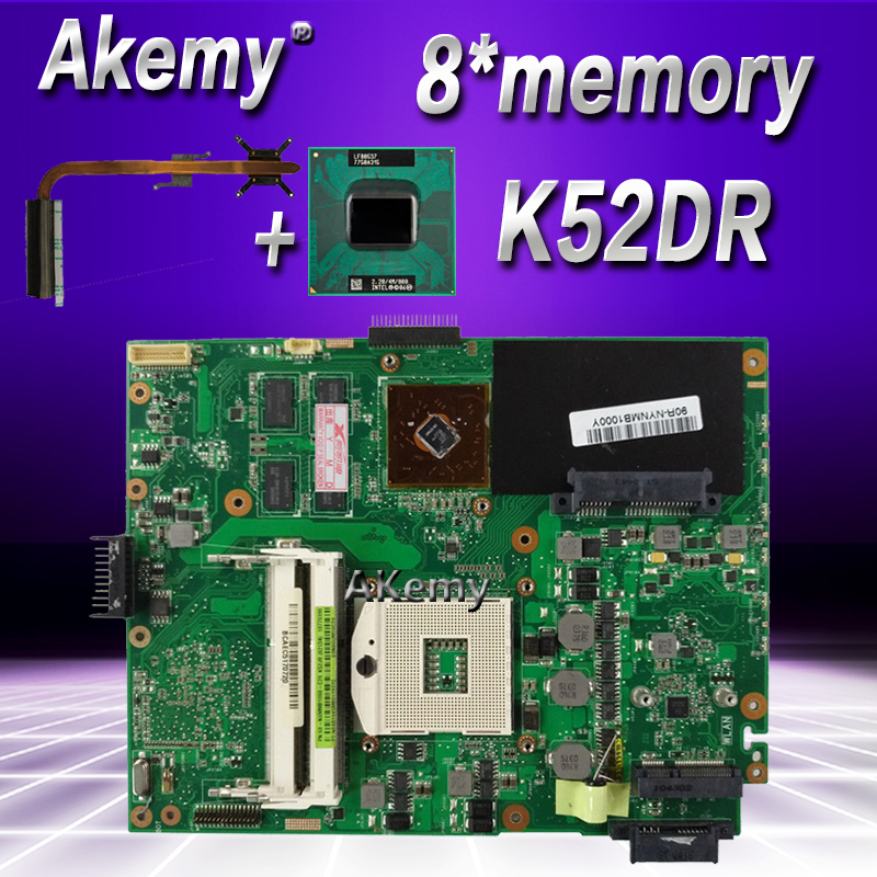 Akemy with HD5470 8*memory 1GB laptop Motherboard For ASUS K52DY A52D K52DE K52D X52D K52DR Mainboard send i5 CPU + heatsink!!!-in Motherboards from Computer & Office    1