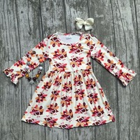 Baby Girls Thanksgiving Dress Baby Kids Fall Milk Silk Dress Children Turkey Dress Baby Girls Boutiques