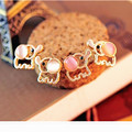 charming fashion cute baby elephant women Opal statement for party free shipping stud earrings e023