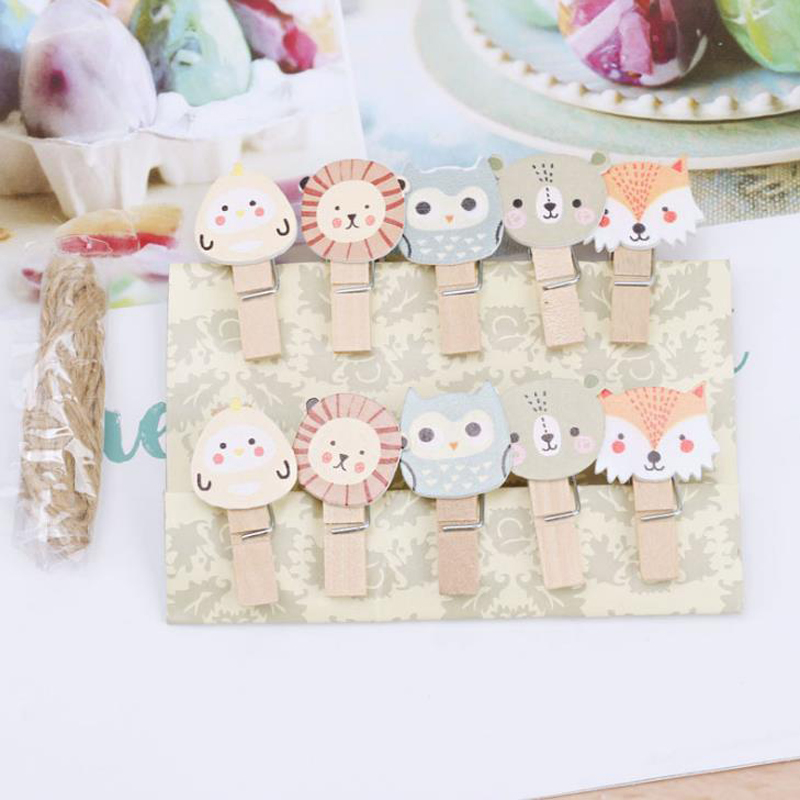10 Pcs/pack Cartoon Animal Fox Lion Owl Wooden Clips Photo Craft DIY Clips With Hemp Rope Clothespin Memo Clips Stationery