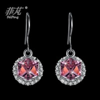 Artificial jewellery sterling silver cube red crystal white gold women's jewelry drop earrings cheapest at online jewelry stores