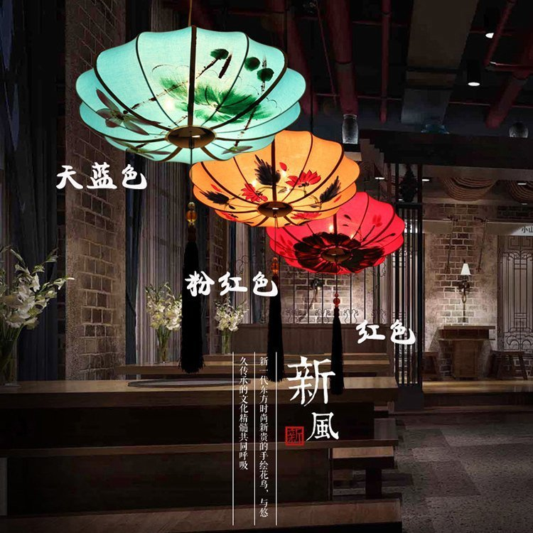 New Chinese hand painting cloth art lanterns Pendant Lights Chinese restaurants hot pot shops decor LU62366 ZL386