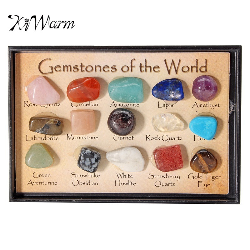 KiWarm On Sale 1 Pack Rock Collection Mix Gems Crystals Natural Mineral Ore Specimens Gemstone with Box Home DIY Decor Ornaments