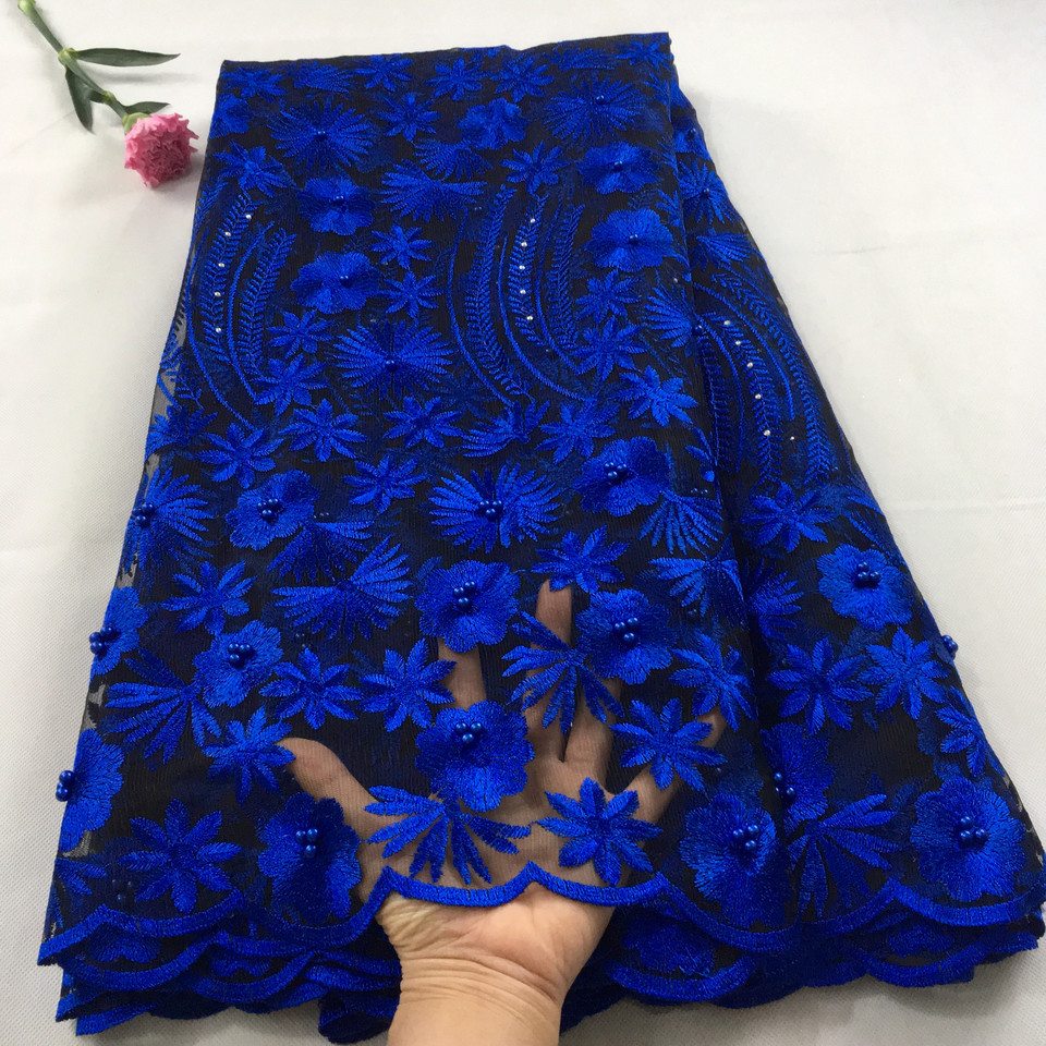 Royal blue african lace fabric 2019 high quality lace french mesh fabric beaded stones nigerian swiss
