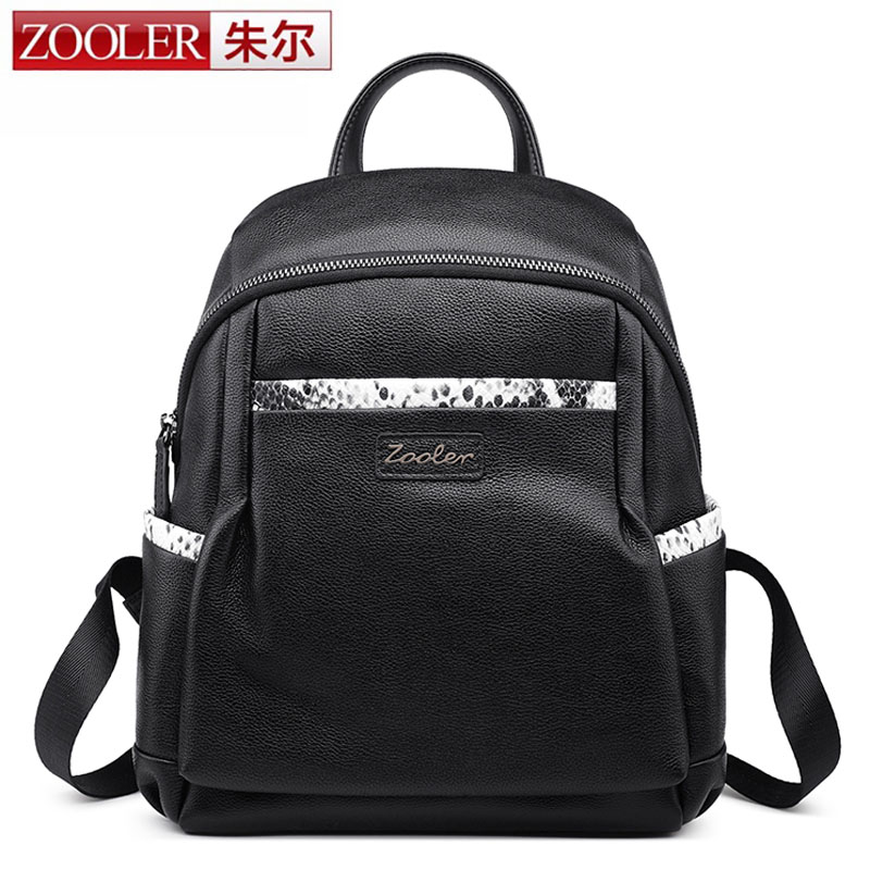 ZOOLER 2017 Fashion Women Waterproof Genuine Leather Backpack Famous Brand Snake Women's Backpacks for Girls Ladies Knapsack Bag zooler genuine leather backpacks for men boy 2016 new backpack real leather famous brand china hot large capacity bag 8339