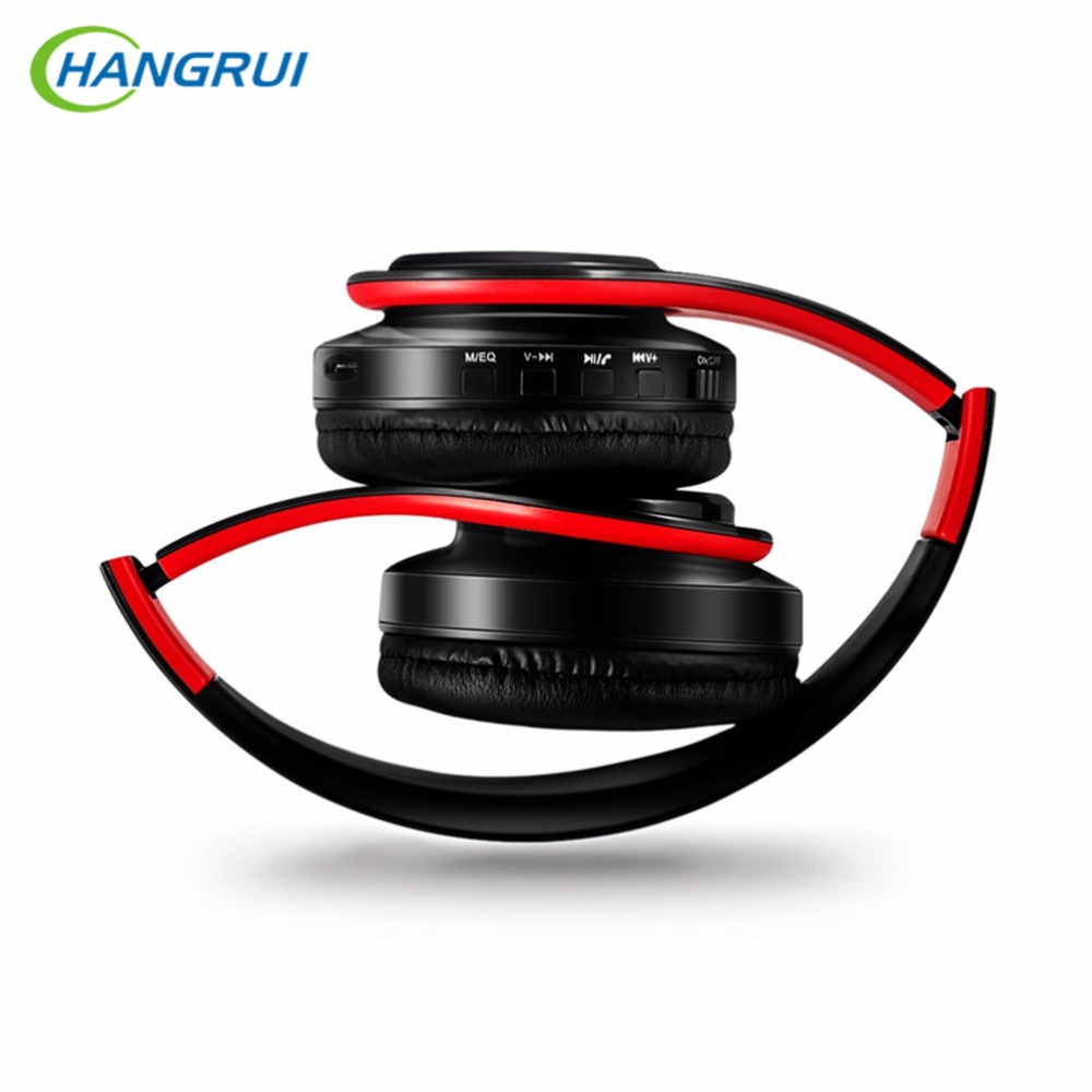 HANGRUI HiFi Stereo Earphones Bluetooth Headphone Support SD card wireless Music Headset for iphone xiaomi samsung tablet PC remax bluetooth v4 1 wireless stereo foldable handsfree music earphone for iphone 7 8 samsung galaxy rb 200hb