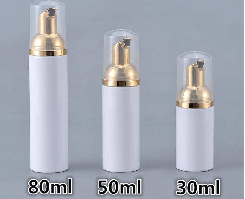10pcs 30/50/80ml Plastic Foaming Bottle Soap Mousses Liquid Dispenser Froth Shampoo Lotion Bottling Foam Bottles With Gold PumpRefillable Bottles   -