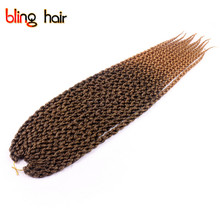 Bling Hair Braiding Styles 3D Cubic Split Kanekalon Twist Crochet Braids Hair Extensions Synthetic Afro Crochet Braiding(China)