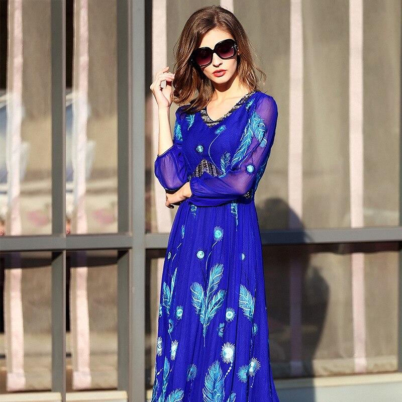 Благородство Настоящее шелковые платья для Женский вышивка Большие размеры Сельма Стиль длинное шелковое платье для женщин 2018 сезон: весна