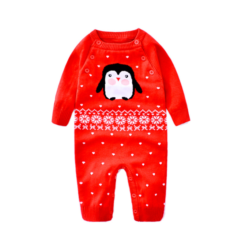 Baby Sweater Rompers Fox Pattern Infant Jumpsuit Soft Toddler Winter Romper Newborn Clothes Knitting Wool Sweater for Boy Girls newborn baby clothes winter baby boy clothes cotton romper jumpsuit gentleman costume baby rompers infant boy clothes 0 12m