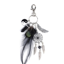 Natural Black Stone Keyring Fashion Silver Feather Dreamcatcher Keychain for Women boho jewelry keychain Bohemia Dream Catcher