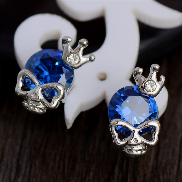 MISANANRYNE Hot Silver Color Cubic Zirconia CZ Cute Skull Pretty Stud Earrings For Women Girls 7 Colors Nice Shipping