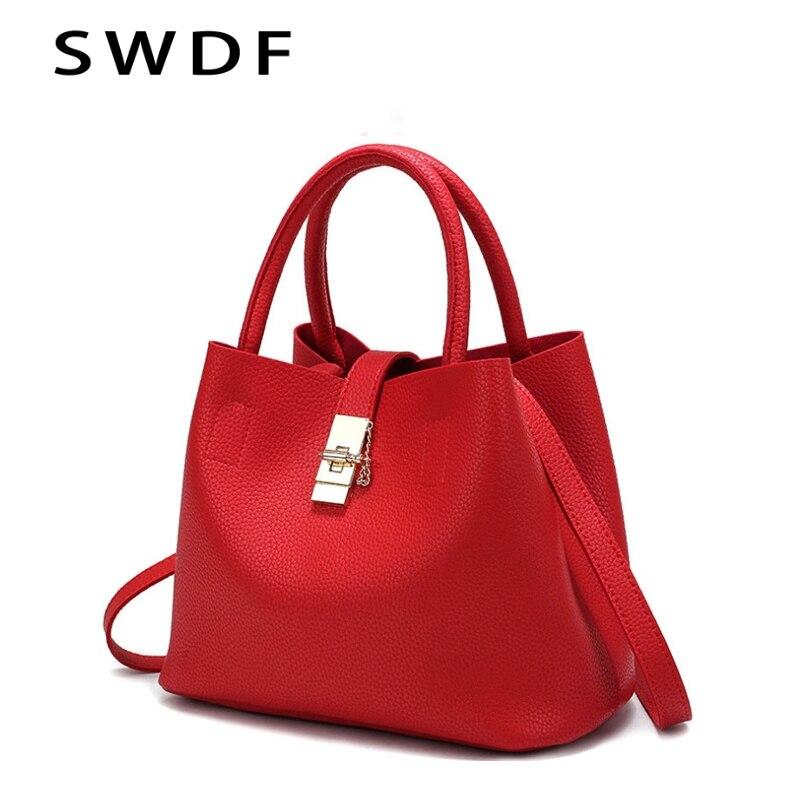 SWDF 2018 New Vintage Women's Handbags Famous Fashion Brand Candy Shoulder Bags Ladies Totes Simple Trapeze Women Messenger Bags