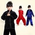 Outono meninos meninas crianças uniformes de artes marciais kungfu chinês mandarim collar crianças trajes wushu tai chi roupas definir FG023