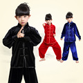autumn boys girls chinese kungfu martial arts uniform children mandarin collar kids wushu costumes tai chi clothes set FG023