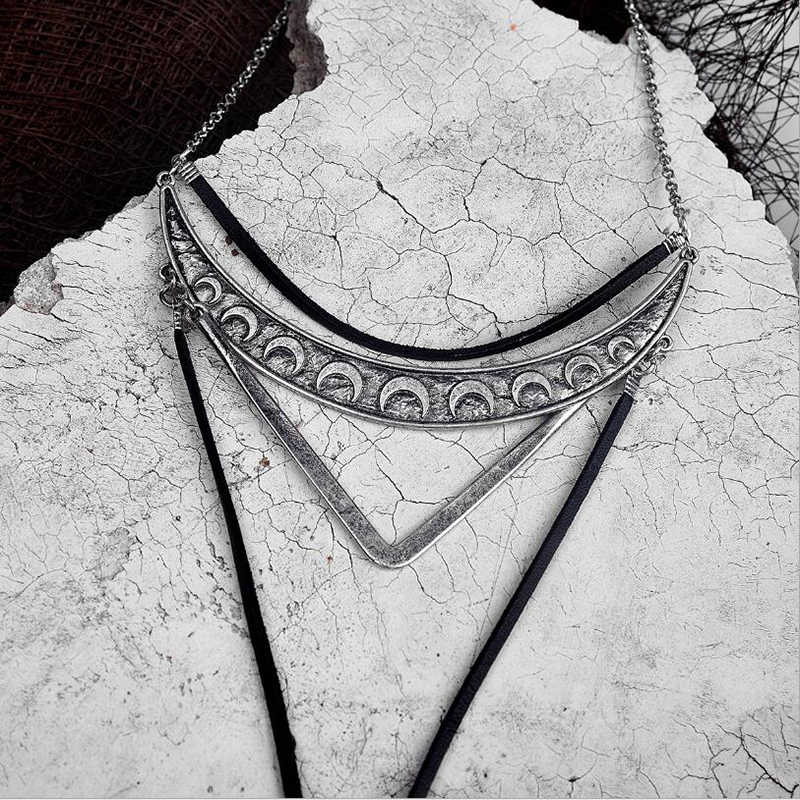 Amaiyllis שבטי ירח סהר V שכבה תליון קולר שרשרת לנשים ארוך עור להתנדנד סוודר שרשרת לערבב אתני צווארון