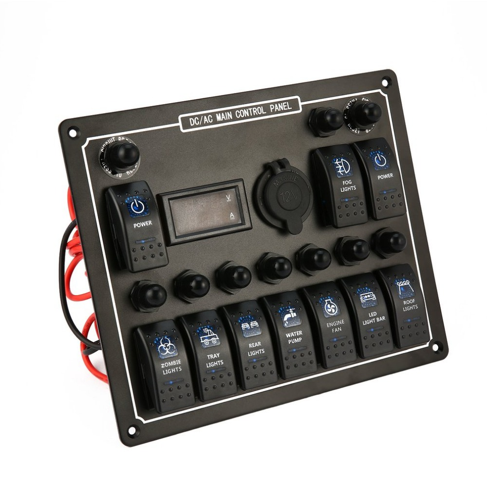 Professional Waterproof DC/AC Main Control Panel 10 Gang Car Boat Marine Rocker Switch Panel Digital Current Voltage Meter