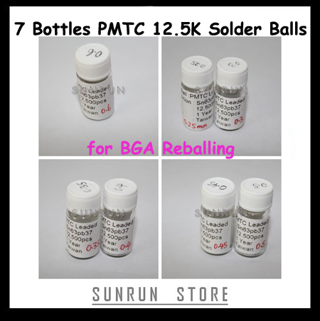 7 Flaschen 12,5 Karat Solder Balls 0,25mm 0,3mm 0,35mm 0,4mm 0,45mm 0,5mm 0,6mm Leaded Löten Balls Set Für BGA Reballing Schablonen