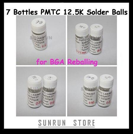 7 botellas de 12,5 K bolas de soldadura 0,25mm 0,3mm 0,35mm 0,4mm 0,45mm 0,5mm 0,6mm con conexión de soldadura juego de bolas para reboleo de BGA plantillas