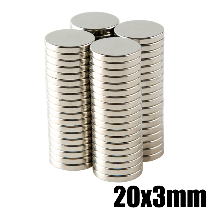 20Pcs 20x3 Neodymium Magnet Disc Permanent NdFeB N35 Super Strong Powerful Small Round Magnetic Magnets Disc 20mm x 3mm 5 x 20mm cylindrical ndfeb magnet silver 20pcs pack