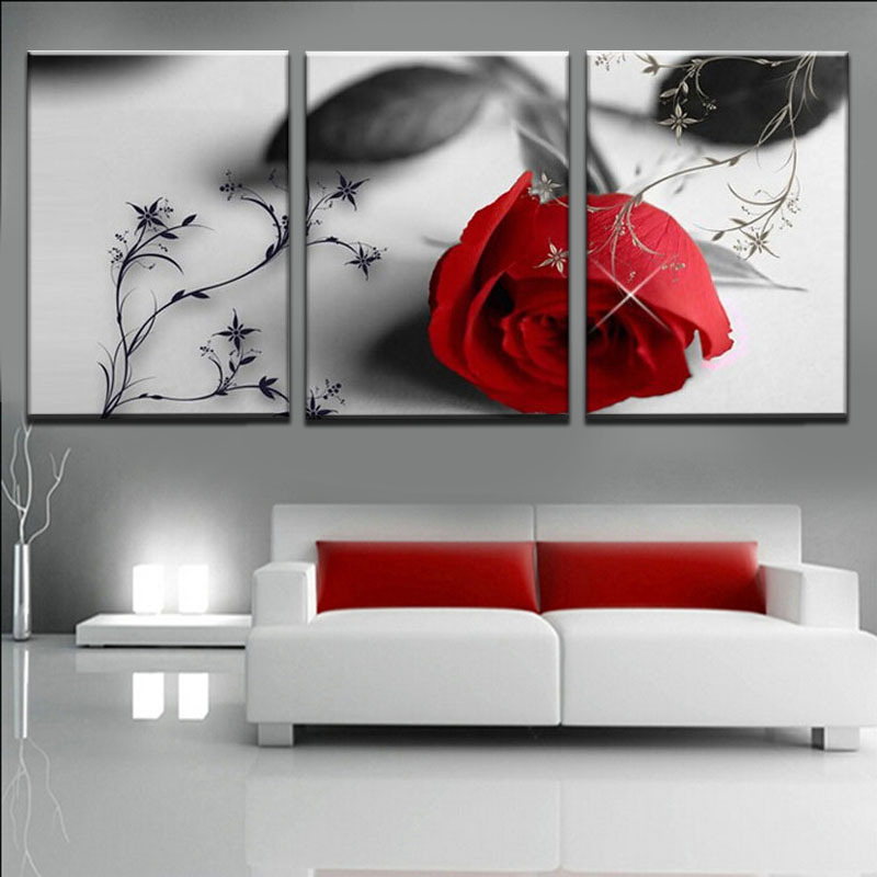 Buy unframed 3 panel rose flower hd for Modern artwork for home