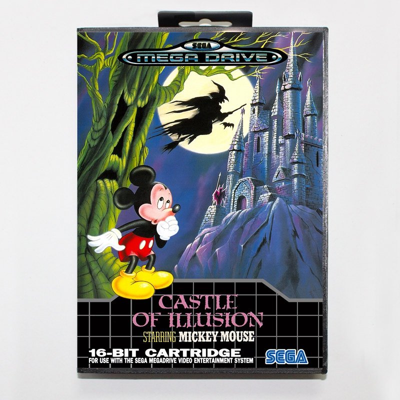 Sega MD games card - Castle Of Illusion with box for Sega MegaDrive Video Game Console 16 bit MD card
