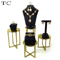 Black PU Leather Jewelry Display Stainless Steel Jewellery Organizer Display Window showcase Necklace Stand Earrings Holder