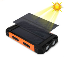 Solar Replacement Battery Phones Dual USB Replacement Batteries 20000 mAh Waterproof Power Bank External Portable LED Compasses