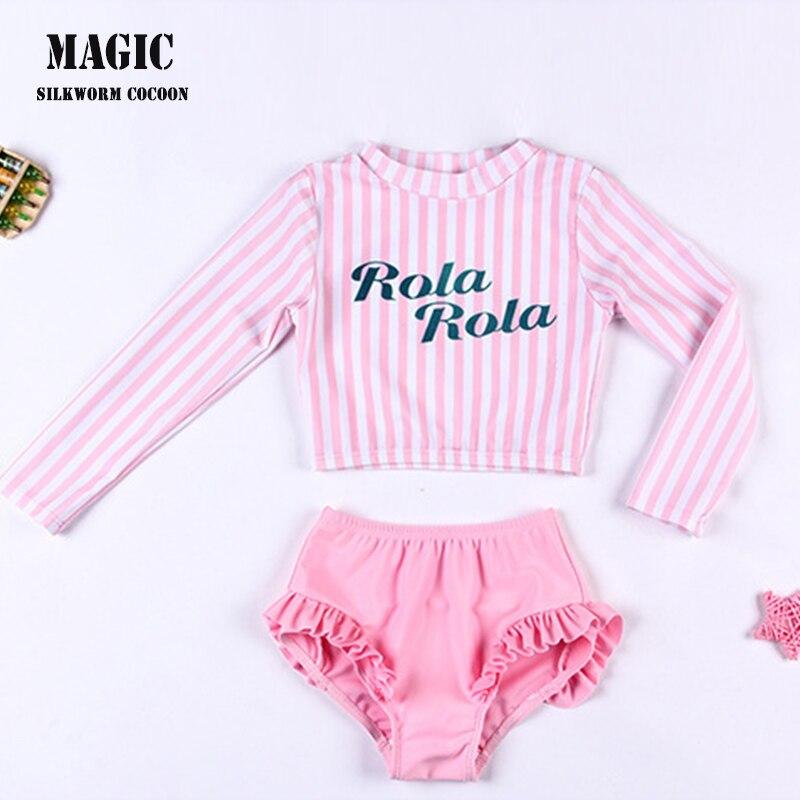 Children's Pink Two-piece Stripe Swimsuit Cute Swimsuit Quick-drying Swimwear Girls Breathable Skin-friendly Swimsuit