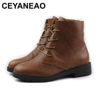 CEYANEAO Women Shoes 100% Authentic Leather Ladies Ankle Boots Round Toe Lace up Woman Booties Female Spring Autumn Footwear