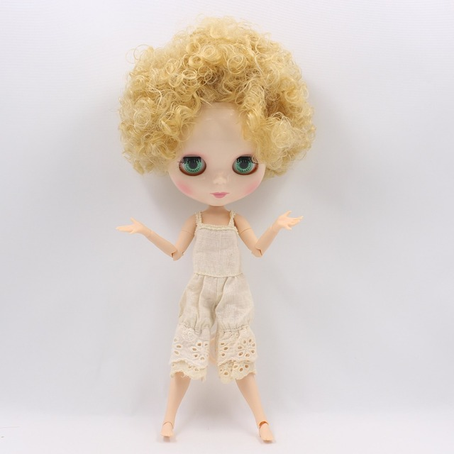 TBL Neo Blythe Doll Short Golden Curly Hair Jointed Body