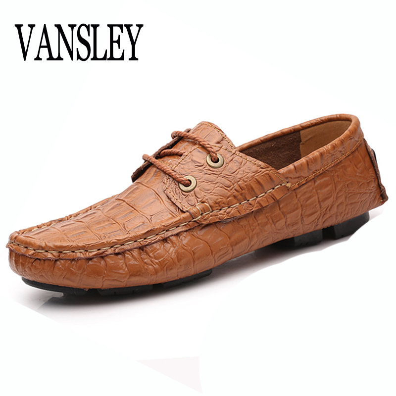 35-50 Men Shoes Loafers Top Quality Genuine Leather Comfortable Handsome Brand Men Flats Fashion Boat Crocodile Stripes Shoes hot sale mens italian style flat shoes genuine leather handmade men casual flats top quality oxford shoes men leather shoes