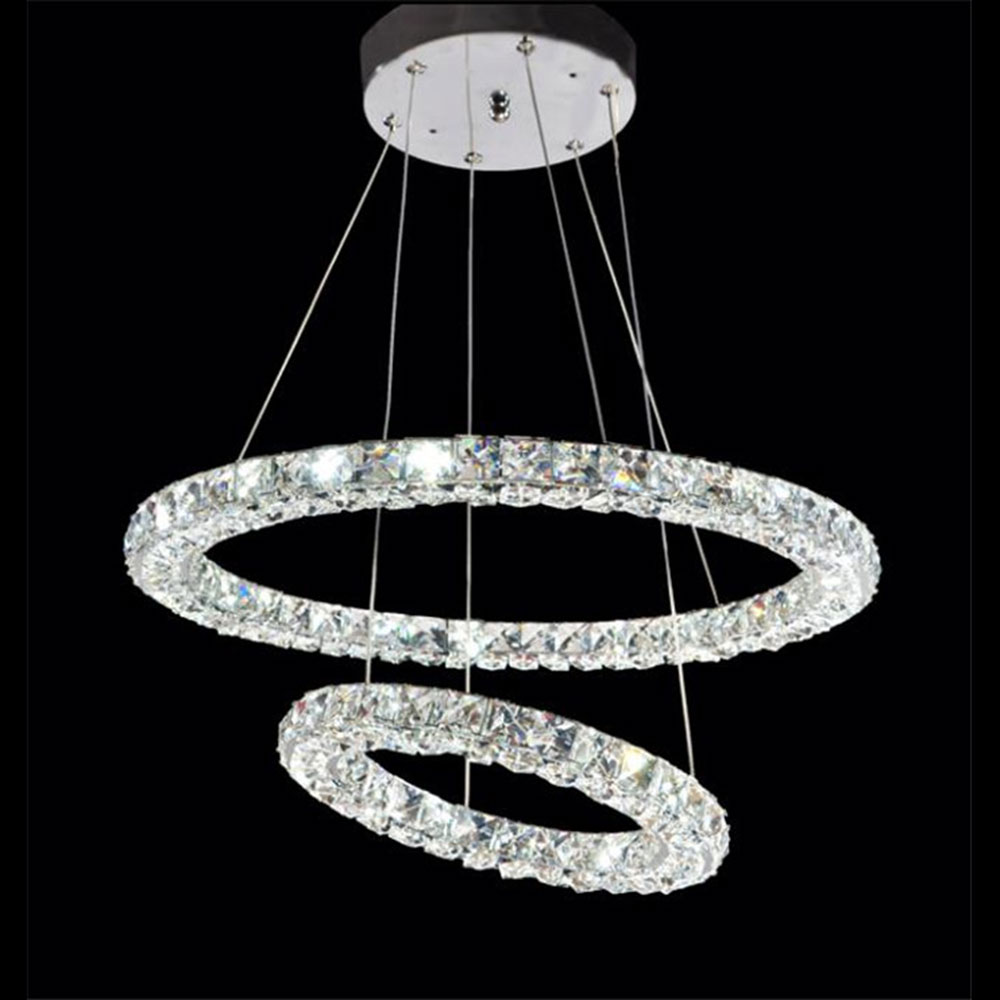 AC100-240V D20cm to D80cm three sides LED crystal pendant lights living room dining room bedroom donut-shaped rings Lustre lamp a1 master bedroom living room lamp crystal pendant lights dining room lamp european style dual use fashion pendant lamps