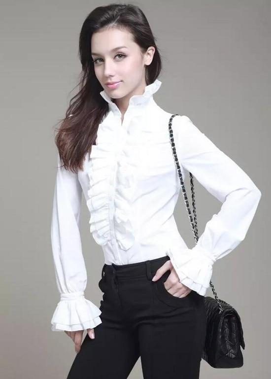 Women Retro Stand Up Collar Lotus Ruffle Victoria Shirts