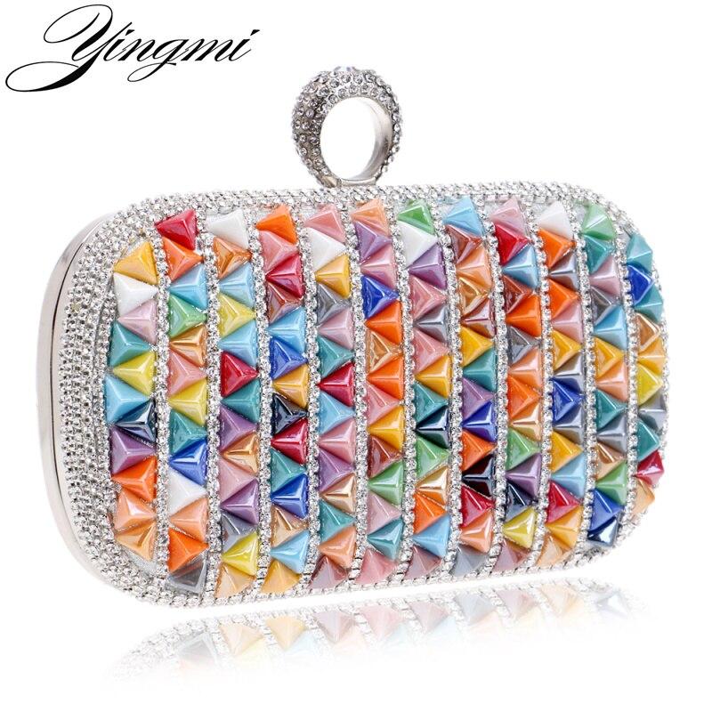 Moda del Color del caramelo de Las Mujeres Bolso Bolsos de Noche de Diamantes An