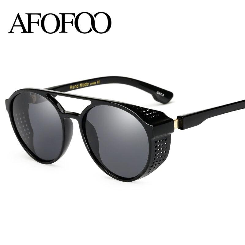 AFOFOO Neue Mode Herren Sonnenbrille Vintage Steampunk Luxury Brand Designer Männer Frauen Spiegel sonnenbrille UV400 Shades Brillen